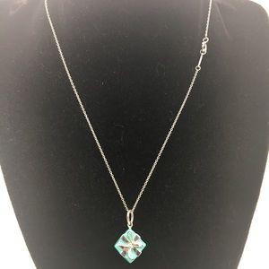 "Tiffany & Co.925 Blue Gift Box Charm 16"" Chain"